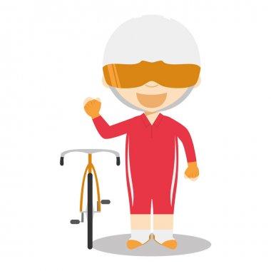 Sports cartoon vector illustrations: Track Cycling