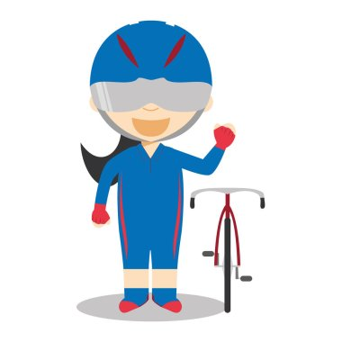 Sports cartoon vector illustrations: Track Cycling (female)