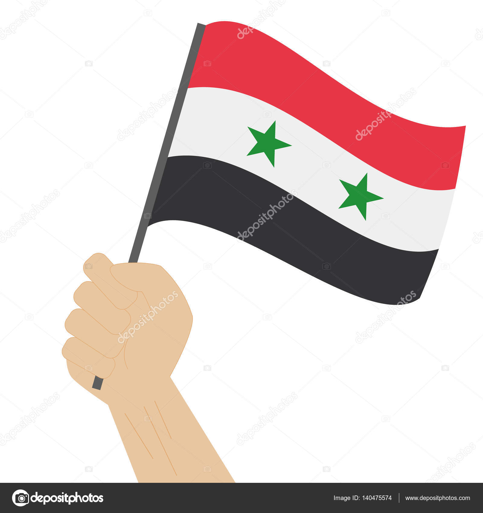 Explotación de la mano y levantando la bandera nacional de Siria ...