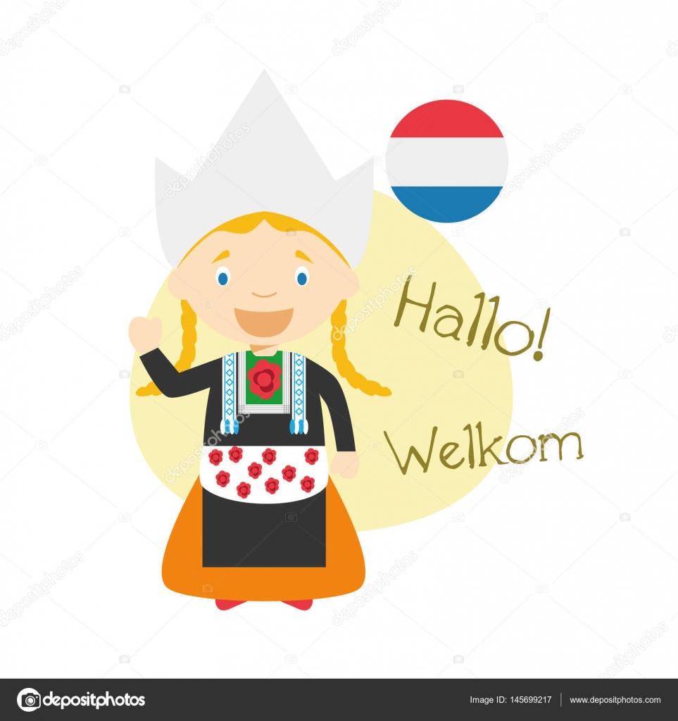Como Decir Feliz Navidad En Holandes.Vector Ilustracion De Personajes De Dibujos Animados