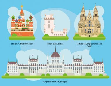 Vector illustration of Monuments and landmarks in Europe Set 2: St Basils Cathedral (Moscow), Belem Tower (Lisbon), Santiago de Compostela Cathedral (Spain) and Hungarian Parliament (Budapest).