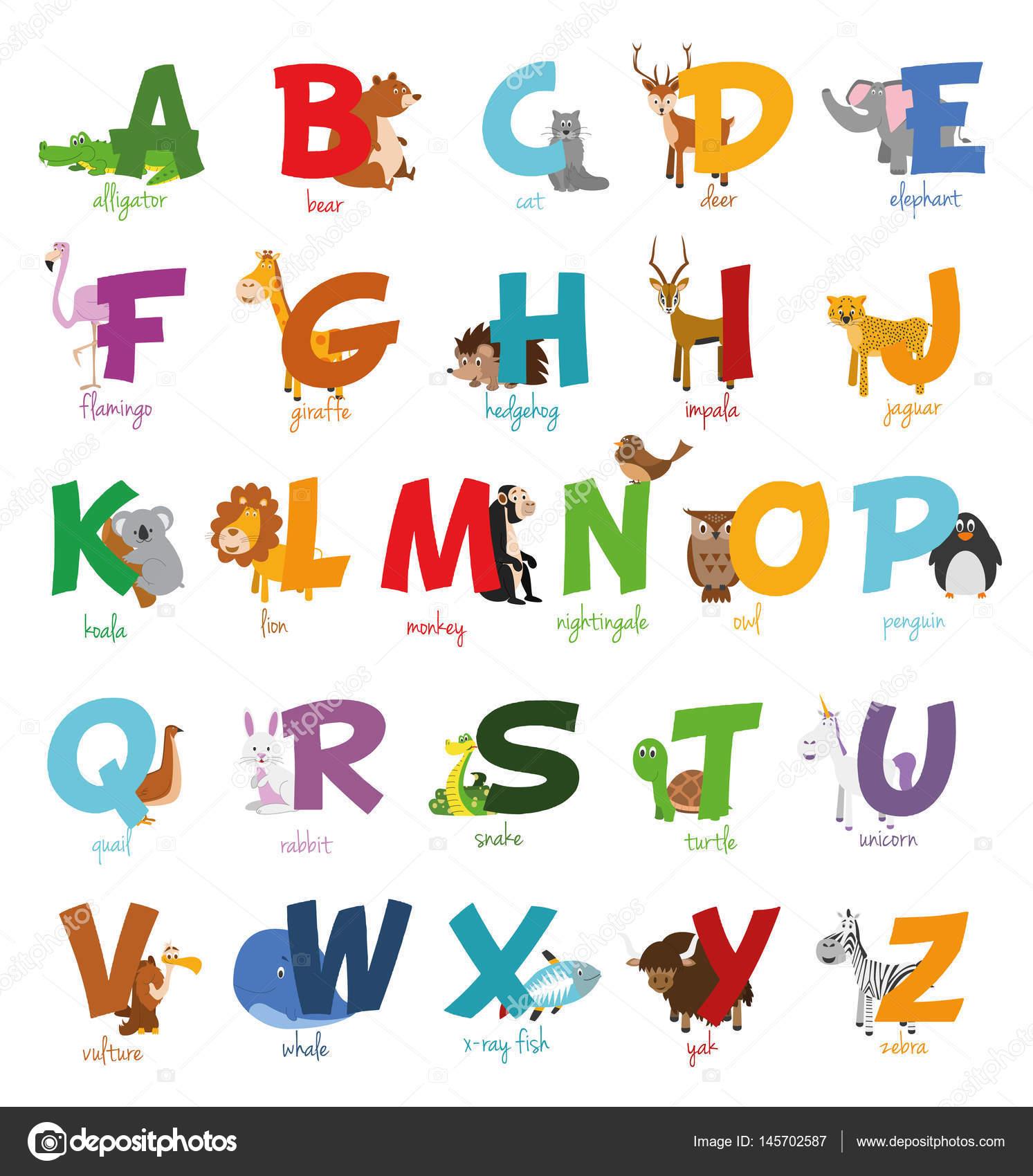 かわいい漫画の動物園には変な動物ではアルファベットが示されてい