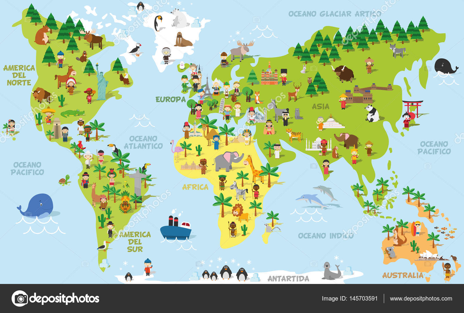 Funny cartoon world map with childrens of different nationalities funny cartoon world map with childrens of different nationalities animals and monuments of all the continents and oceans names in spanish gumiabroncs Choice Image