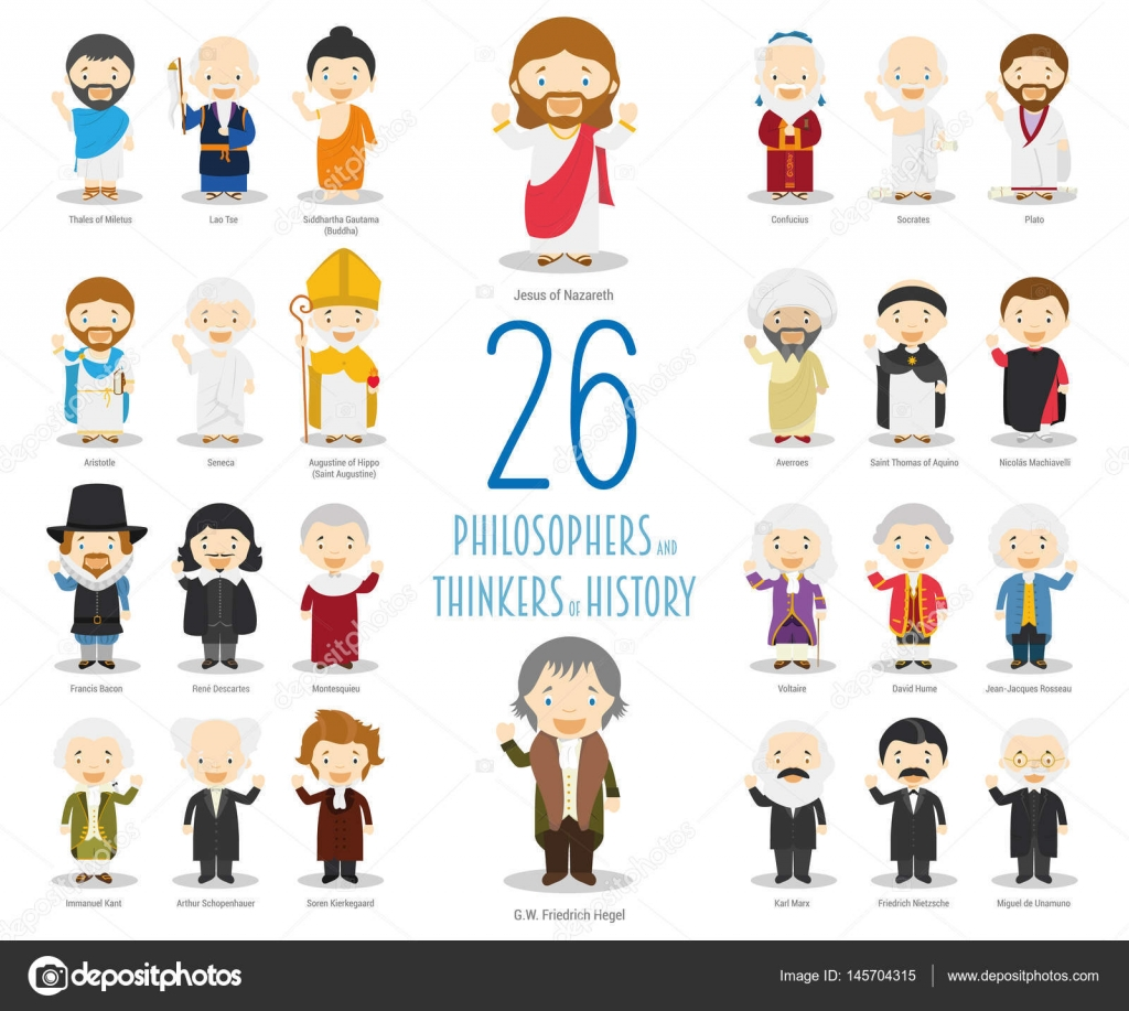 kids vector characters collection set of 26 great philosophers