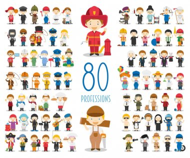 Kids Vector Characters Collection: Set of 80 different professions in cartoon style. stock vector