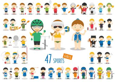Big Set of 47 cute cartoon sport characters for kids. Funny cartoon girls. Olympics Sports vector illustrations stock vector