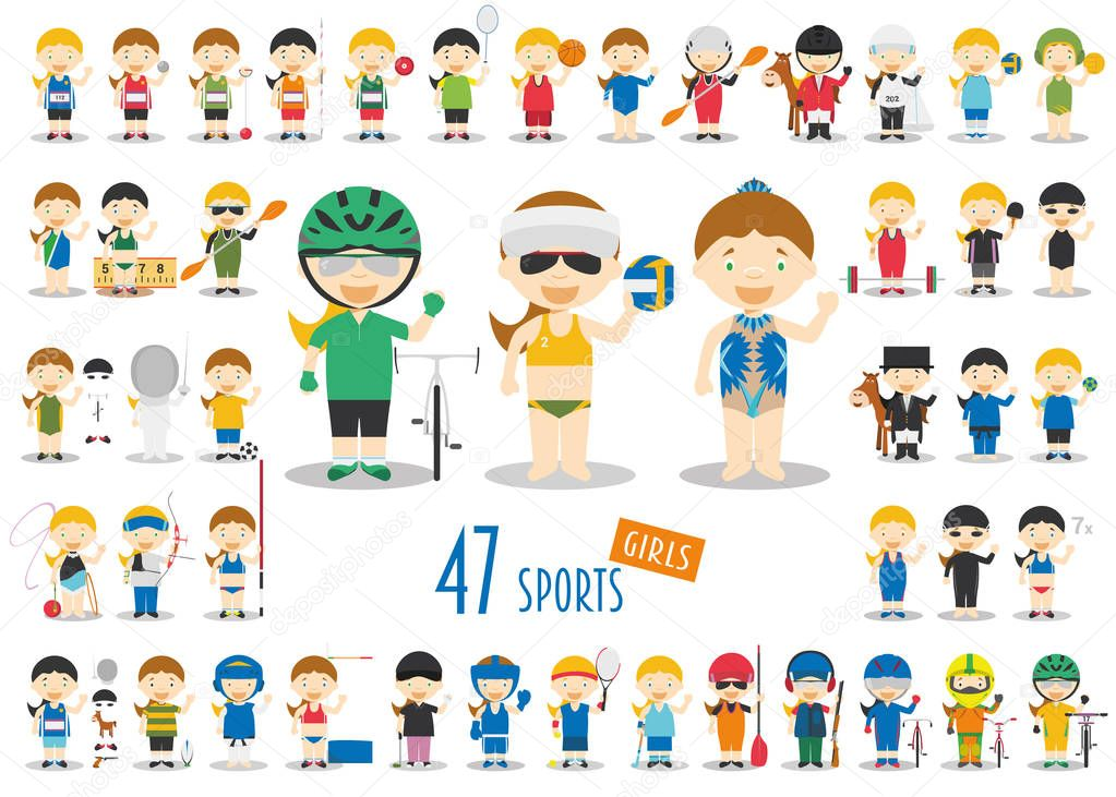 Big Set of 47 cute cartoon sport characters for kids. Funny cartoon girls. Olympics Sports vector illustrations stock vector