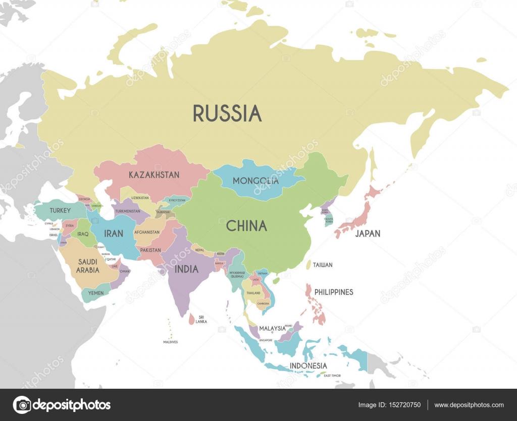 Cartina Asia Politica E Fisica.Illustrazione Di Vettore Asia Mappa Politica Isolato Su
