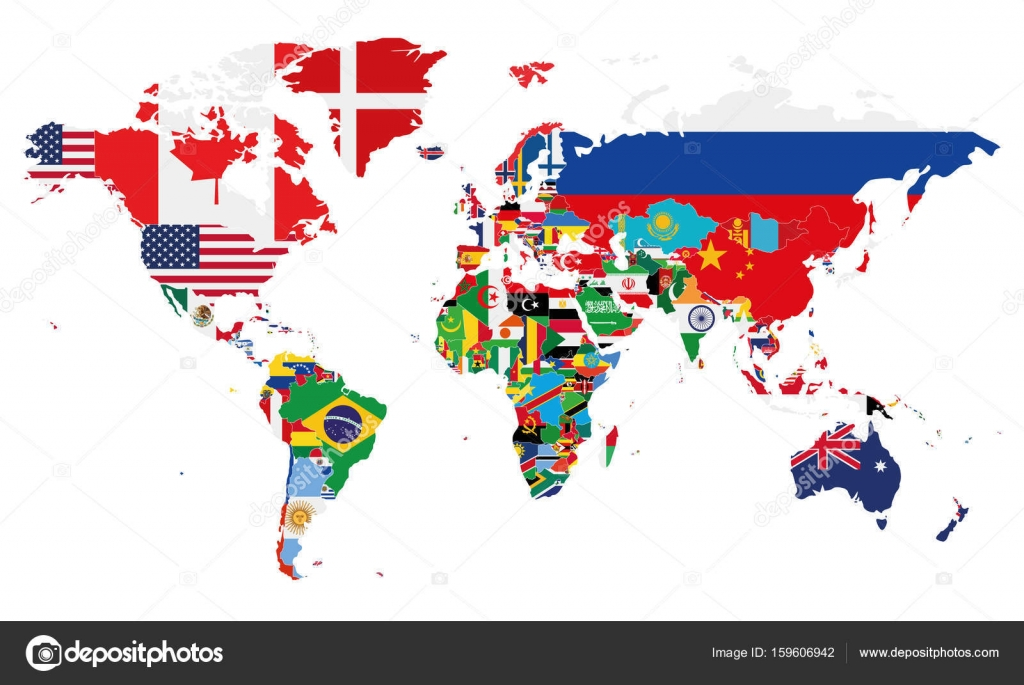 Political world map vector illustration with the flags of all political world map vector illustration with the flags of all countries editable and clearly labeled gumiabroncs Images