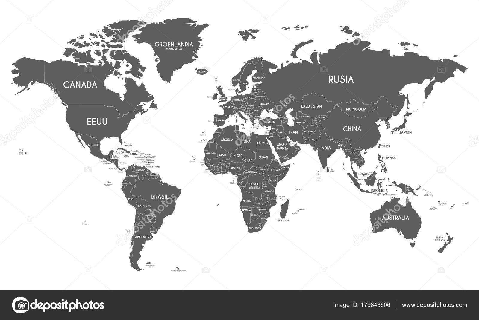 Political world map vector illustration isolated on white background political world map vector illustration isolated on white background with country names in spanish editable gumiabroncs Image collections