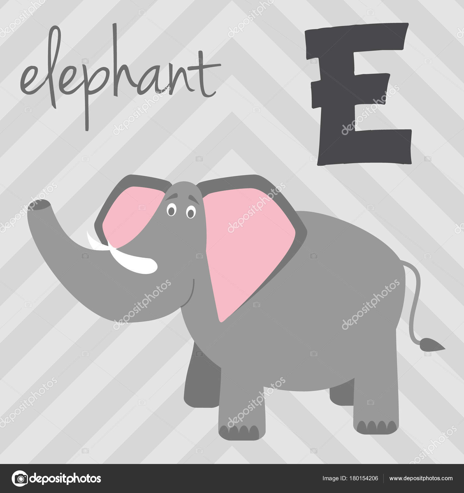 Cute Cartoon Zoo Illustrated Alphabet With Funny Animals E For Elephant English