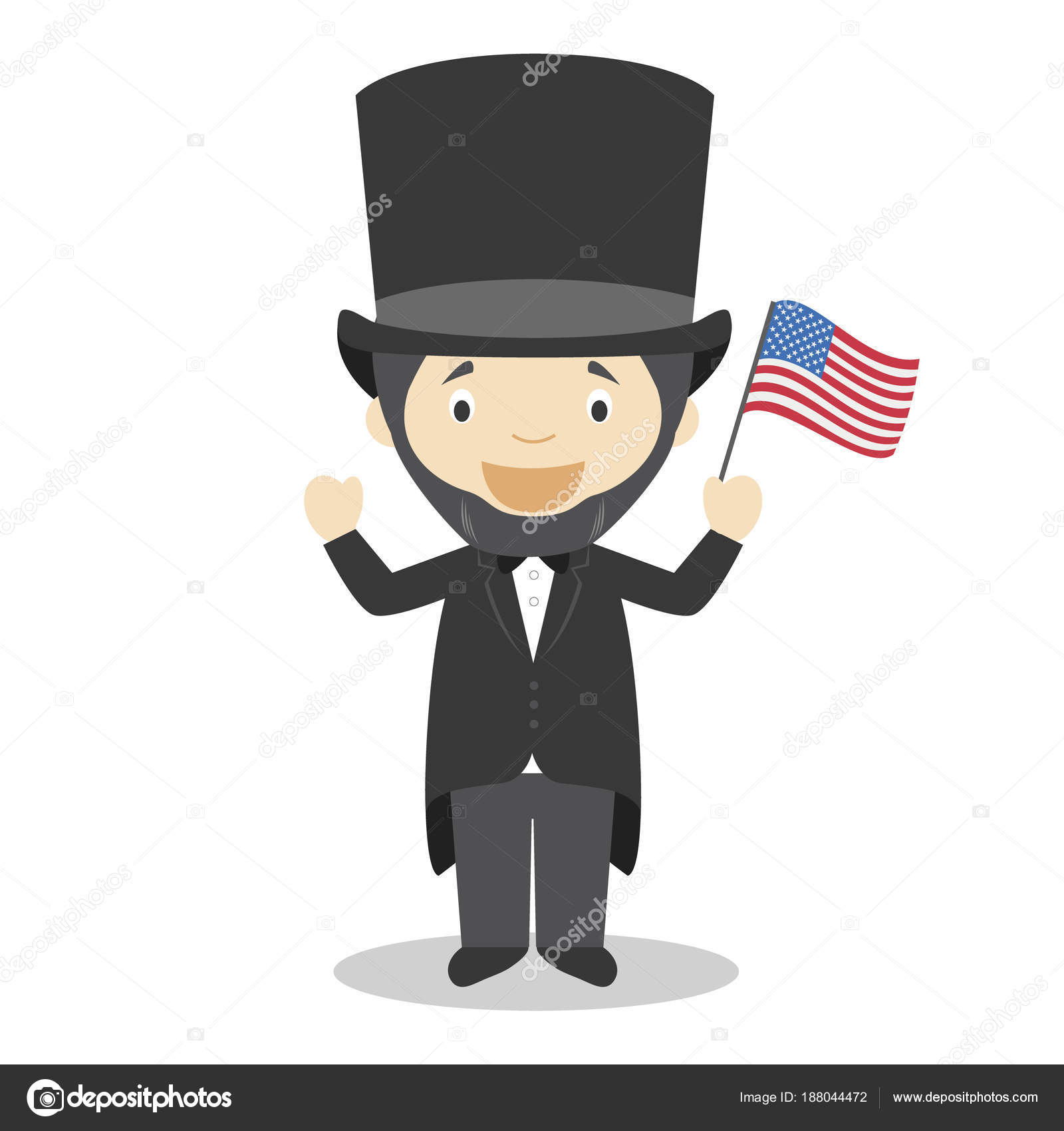 Abraham Lincoln Cartoon Character Vector Illustration Kids History
