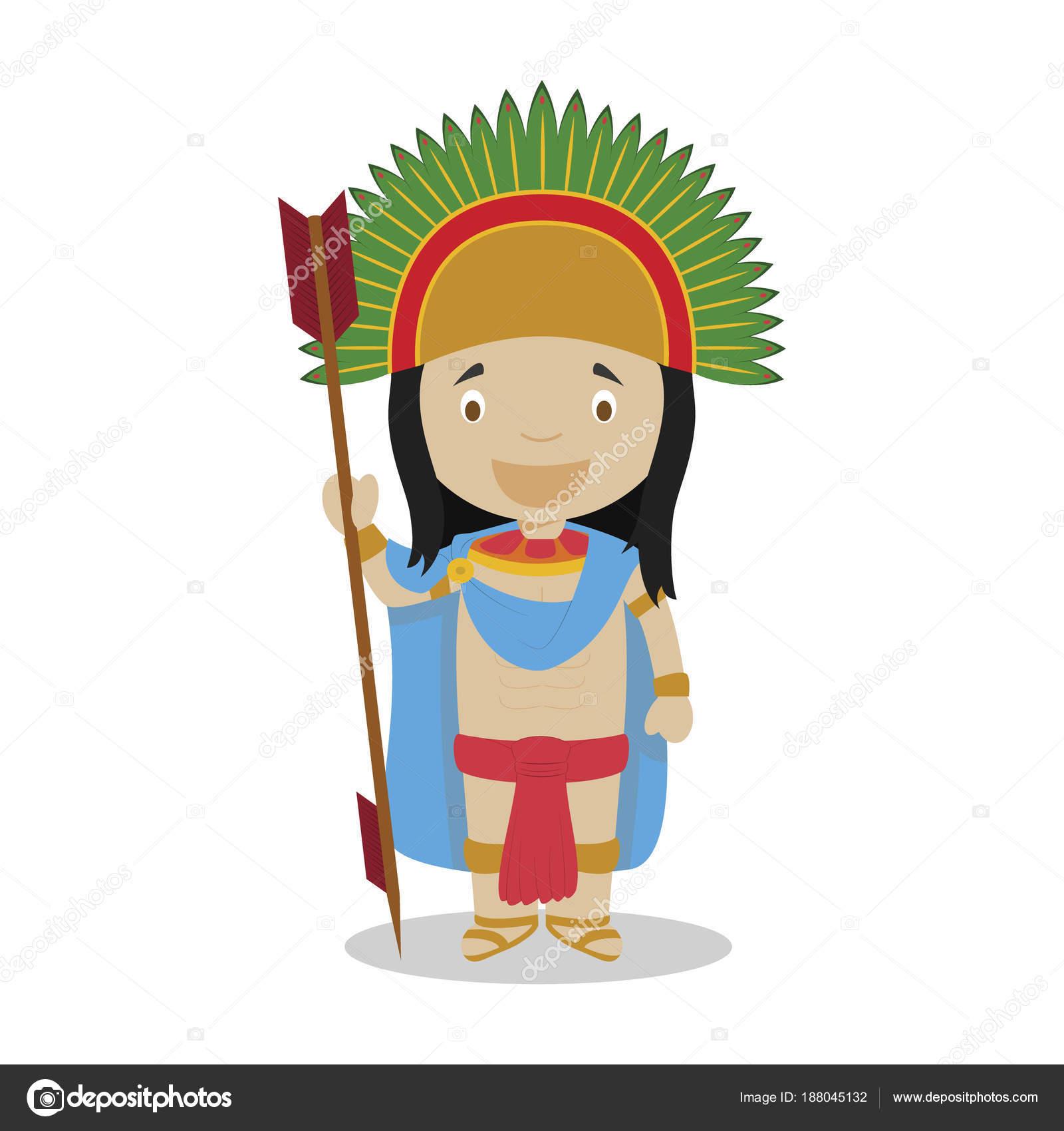 Moctezuma Ii Cartoon Figur Vektor Illustration Kinder History