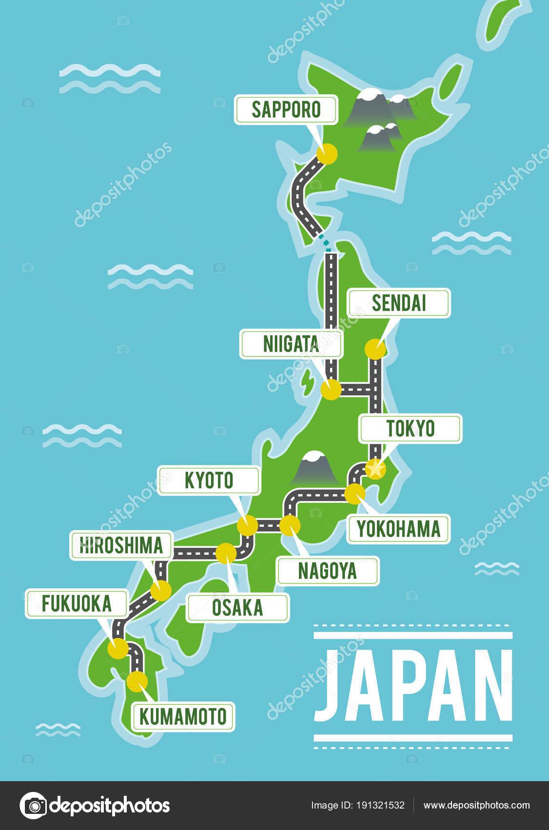 Mapa De Japon Ciudades.Mapa De Vectores De Dibujos Animados De Japon Ilustracion