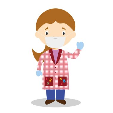 Cute cartoon vector illustration of a female teacher with surgical mask and latex gloves as protection against a health emergency