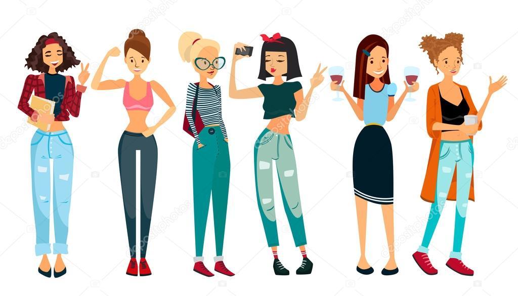 6 人の美しい女性とベクトルの人々 イラスト セット ストックベクター