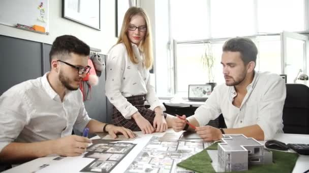 architecture drawing on architectural project, teamwork Concept. 20s. 4k.