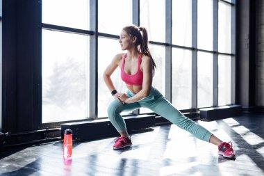 Girl doing morning exercises