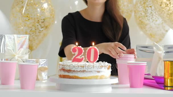 Festive Candles Happy Birthday On A Cake 1080p Fullhd Stock Video