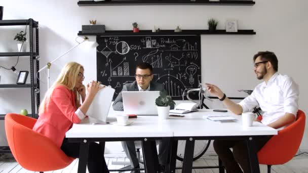 Teamwork: business discussion at the office table