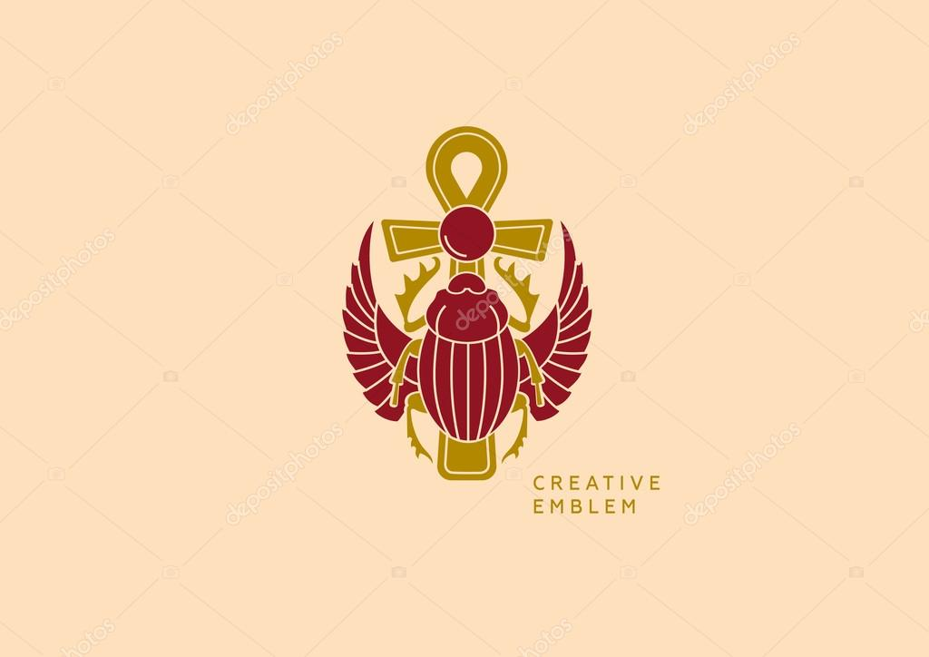 Emblem On Egyptian Scarab With Wings And A Cross Stock Vector