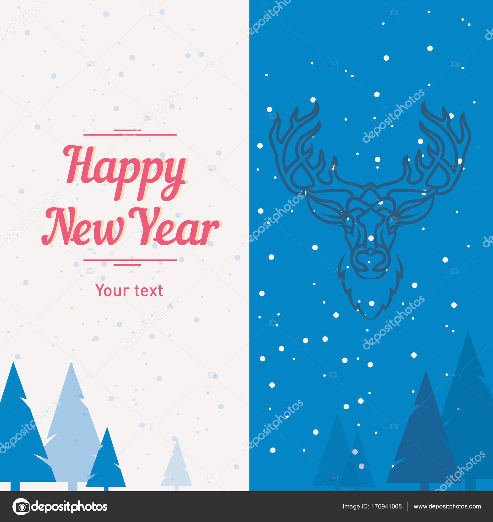 postcard template deer forest happy new year and merry christmas
