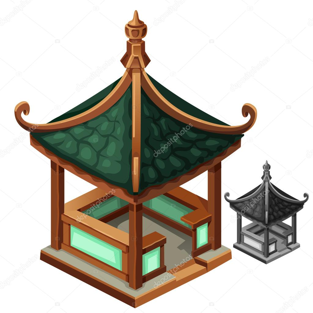Gazebo in Oriental style with green roof