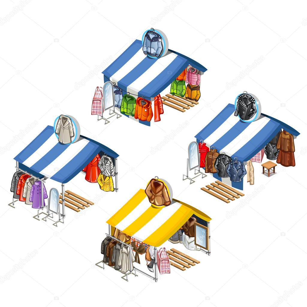 Place for street sales of jackets and fur coats