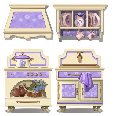 Furniture for kitchen in retro style, purple color