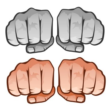 Human fist front, four icons on white background