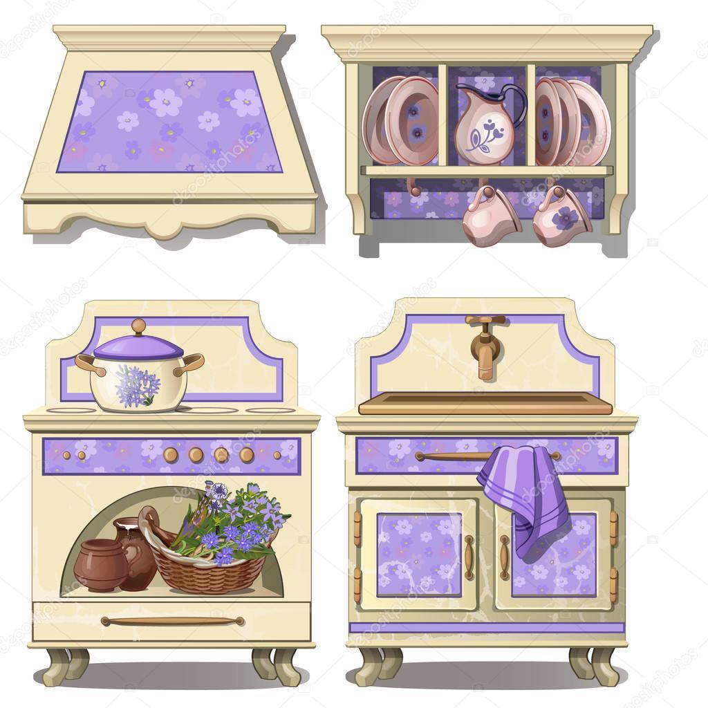 Muebles para cocina en estilo retro, la púrpura del color ...