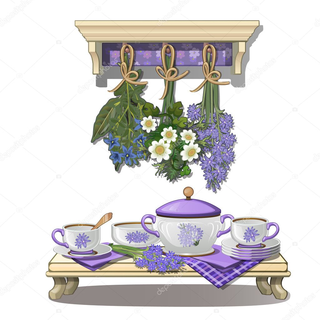 Kitchen utensils and dried flowers in purple color