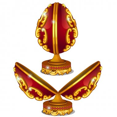 Precious red egg with gold pattern and rubies