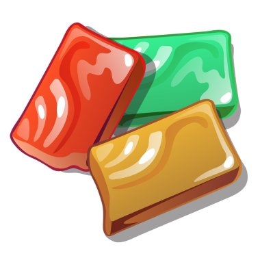 Red, yellow and green soap in cartoon style