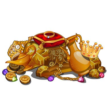 Royal gold treasure, crown and precious relics