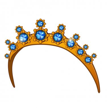 Golden crown with sapphires, womens head accessory