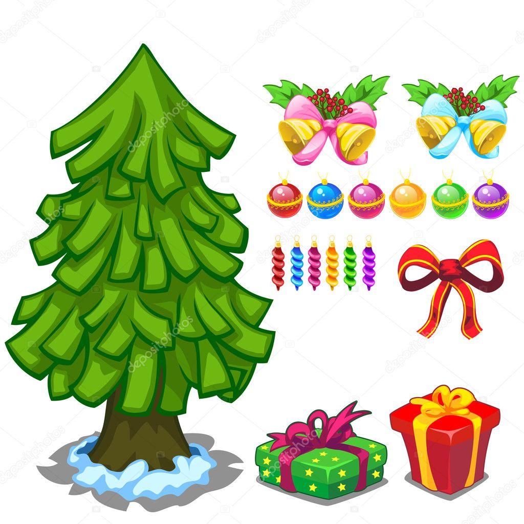 Рисунок елка с игрушками. Рождественская елка и игрушки ...