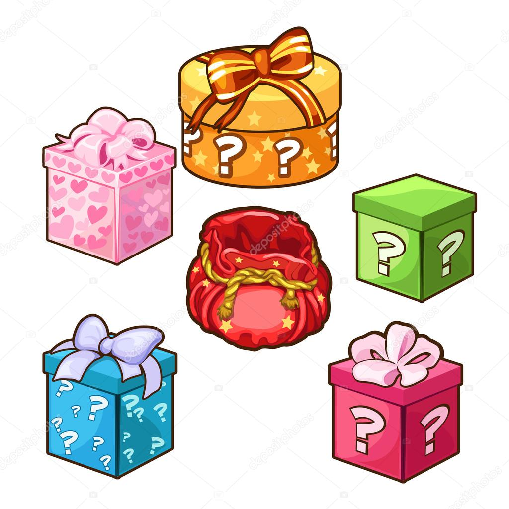 Five different color gift boxes with bows vector five different color gift boxes with bows for different design needs set of six icons on a white background antonlunkov negle Gallery