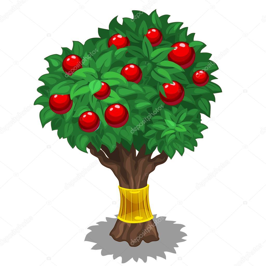 Rbol frondoso con frutos rojos y oro vector de archivo for Arbol de frutos rojos pequenos