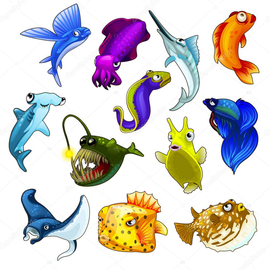 Vector set of tropical fishes on white background