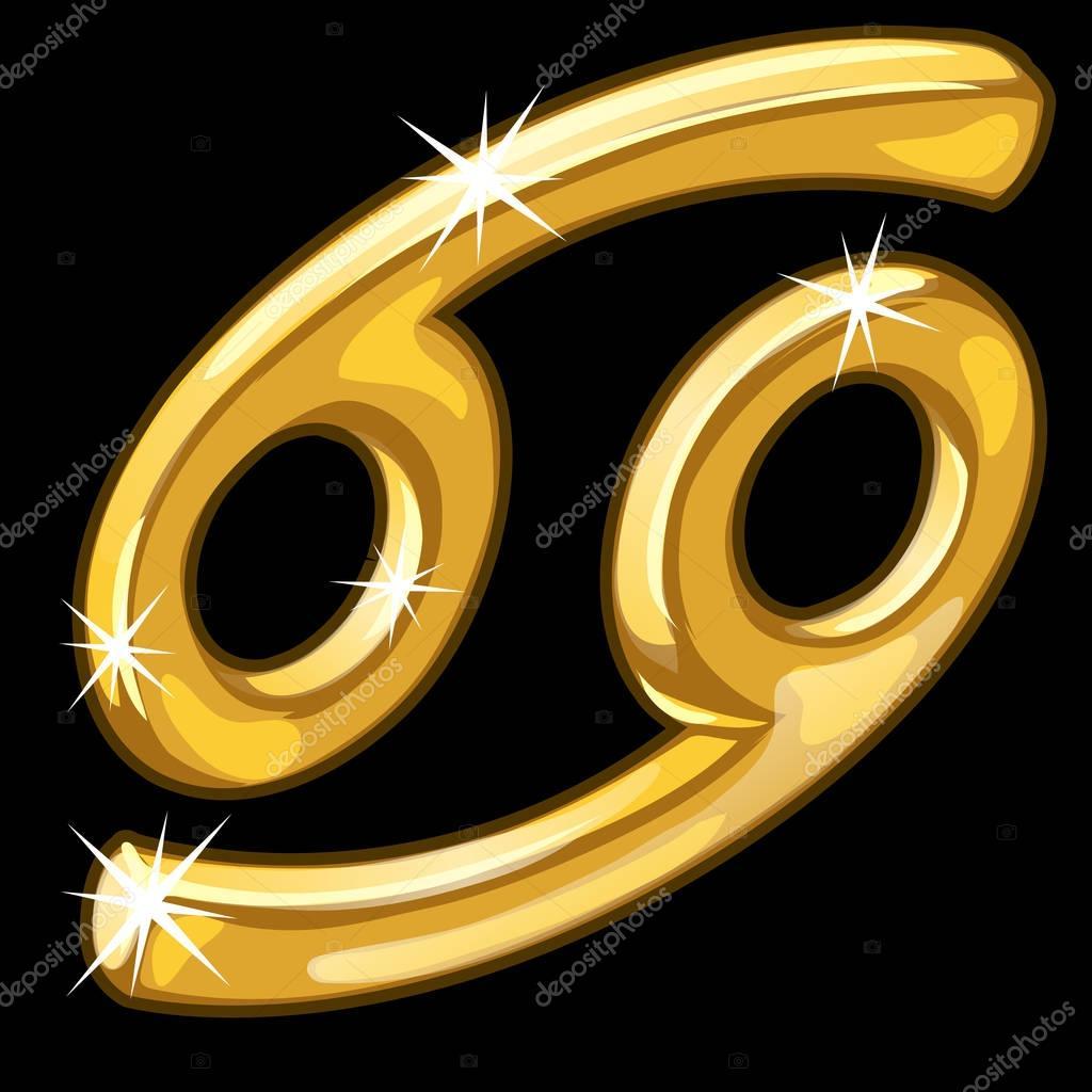 Gold zodiac sign Cancer on black background