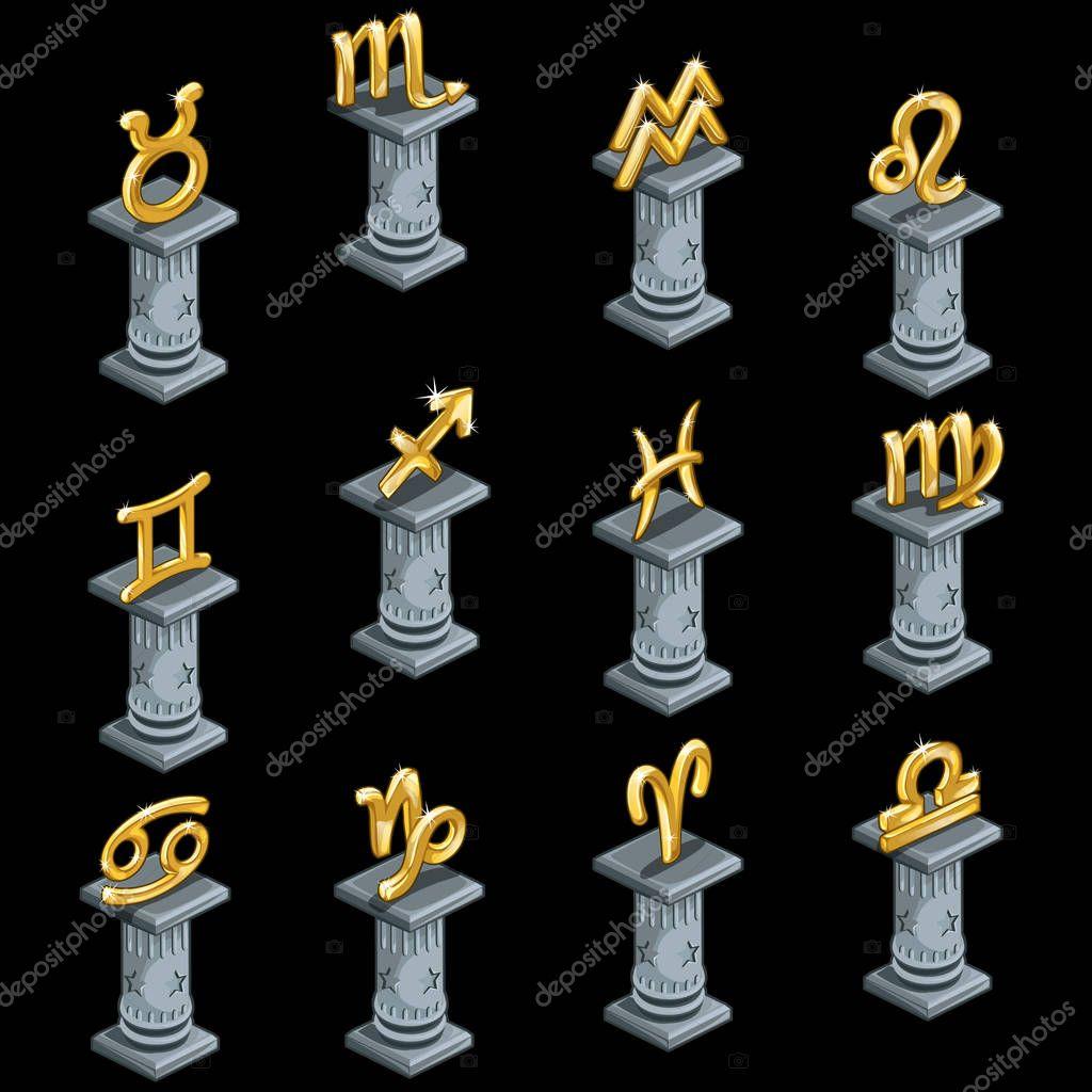 Twelve gold figurines of zodiac signs on columns