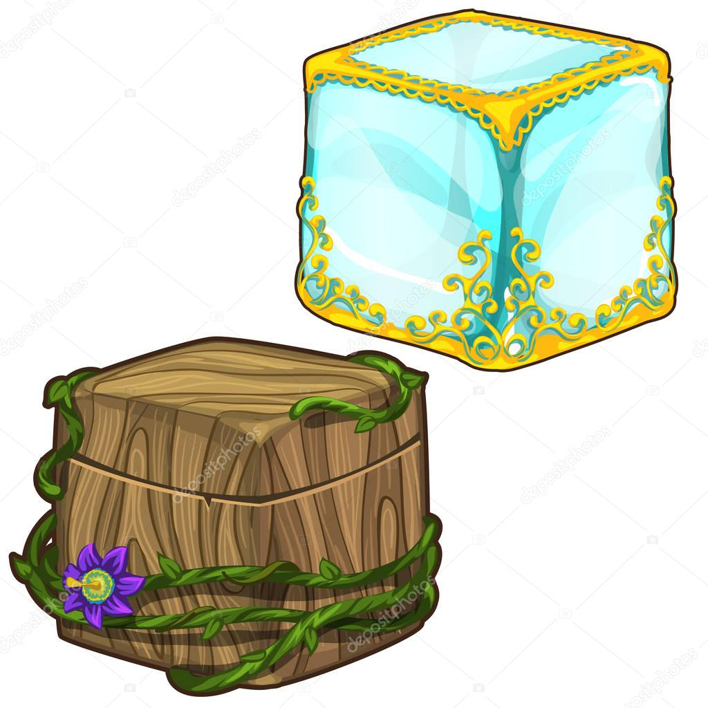 Ice cube with Golden ornaments and wooden box