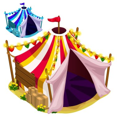 Open a festive circus tent. Vector isolated