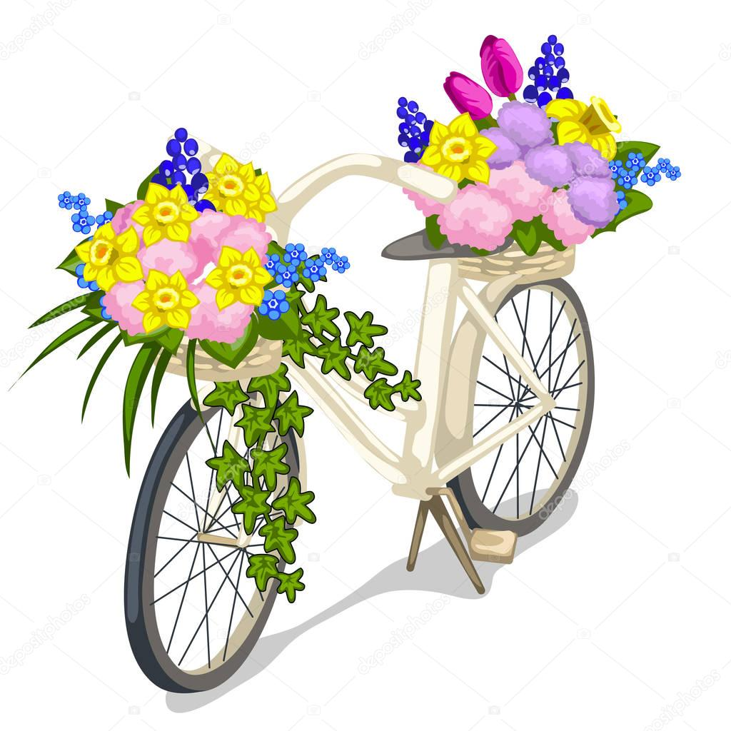 Bicycle decorated with flowers on white background