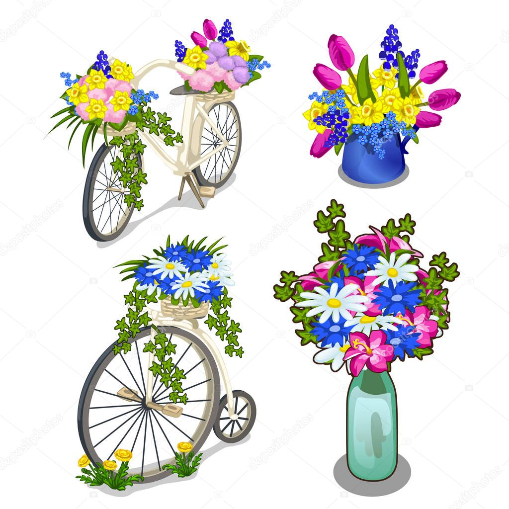 Two vintage bikes and bright bouquets of flowers