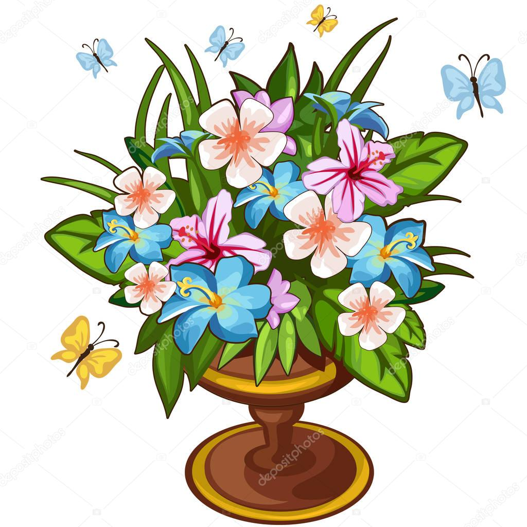 Bright bouquet of flowers in vase and butterfly