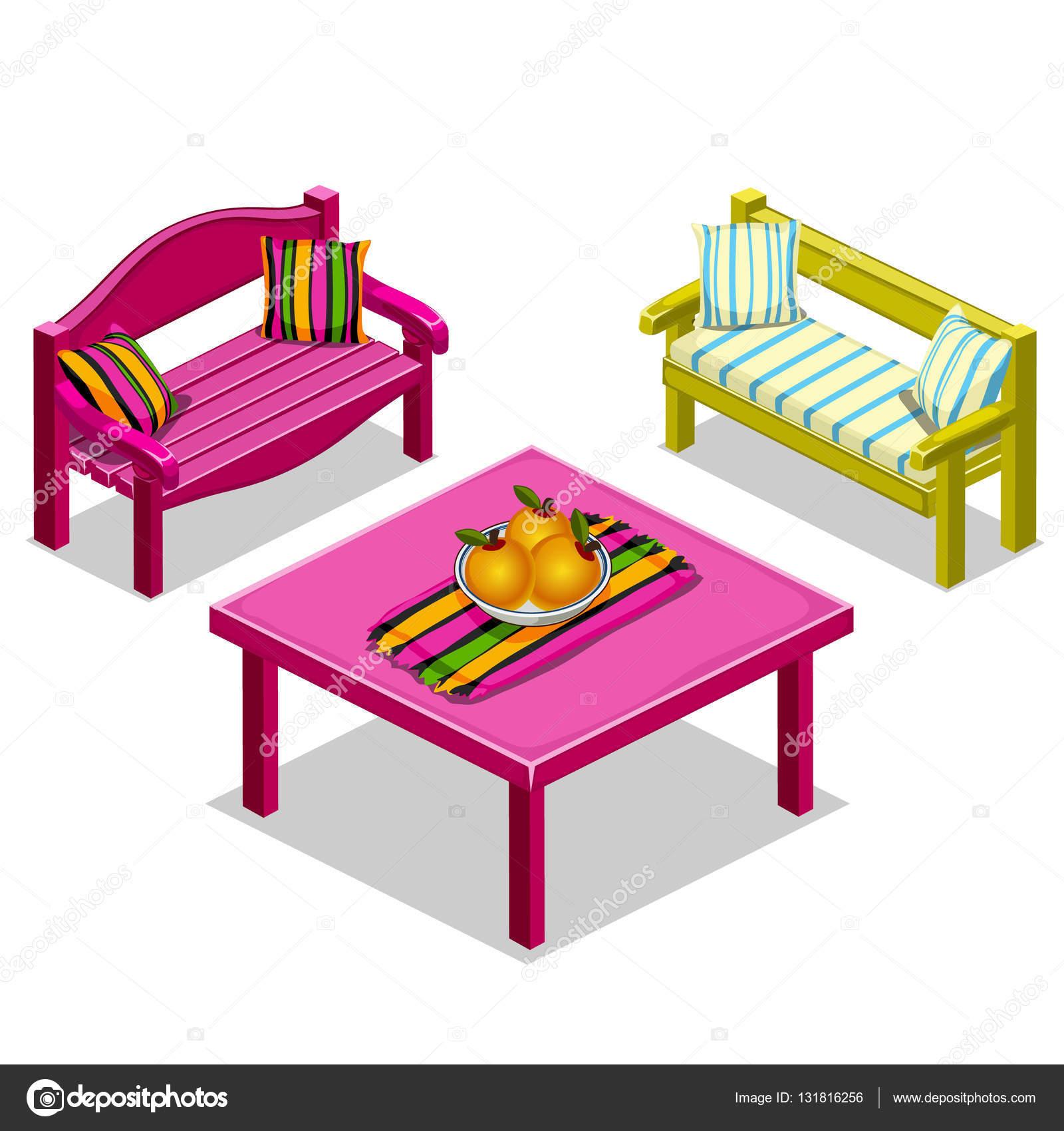 Wunderbar Moderne Möbel Für Wohnzimmer, Bänke Und Tisch U2014 Stockvektor