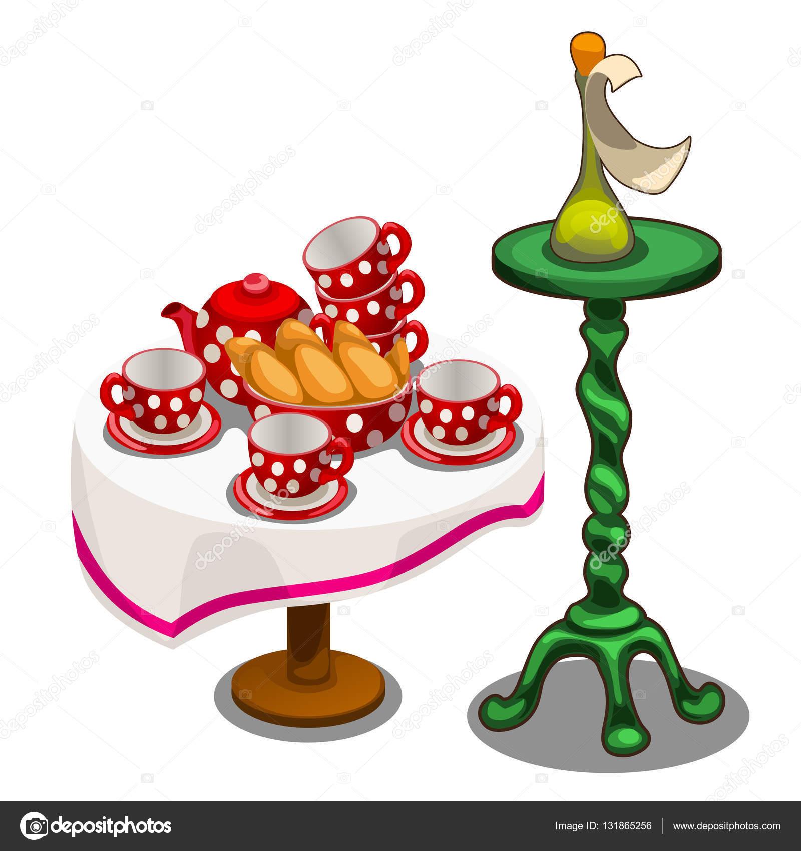 Juego de té con pasteles en la mesa y la otra decoración — Vector de ...