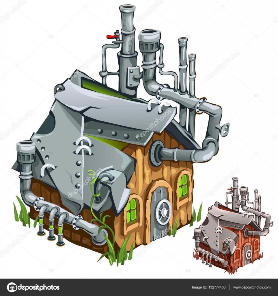 F brica en casa madera estilo de dibujos animados vector de stock anton lunkov 132774480 - Fabrica de casas de madera ...